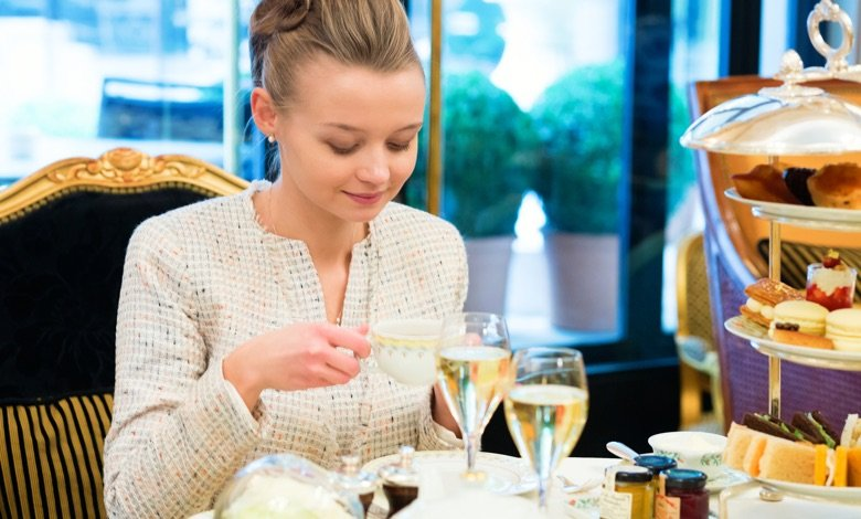Young lady at high tea ceremony