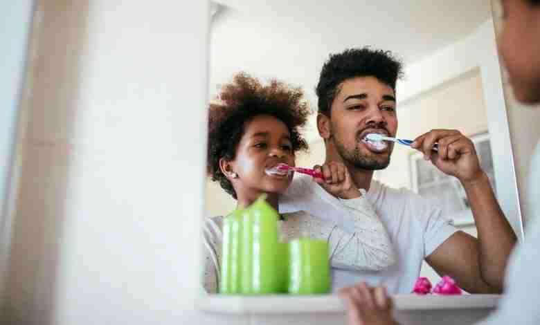 Bathroom time father & son