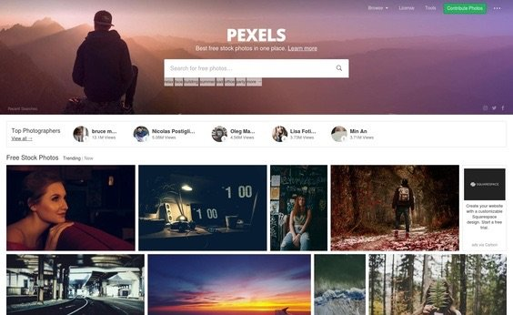 Pexels Free Stock Photography website
