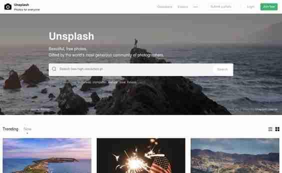 Unsplash Free Stock Photography website