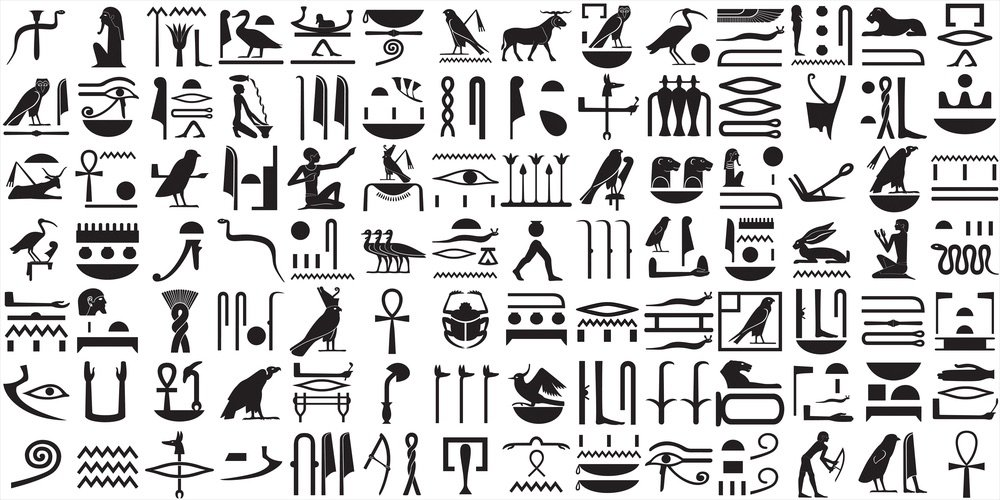 Silhouettes of the ancient Egyptian hieroglyphs