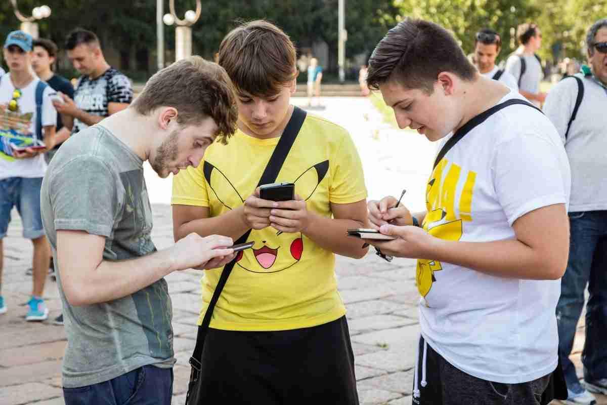 Group playing Pokemon Go